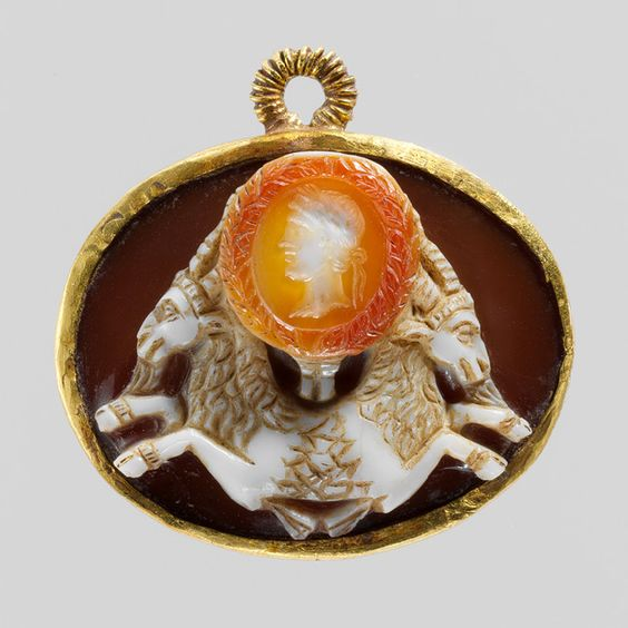 Emperor Augustus above a Double Capricorn, late 1st century B.C.–early 1st century A.D.  Roman  Sardonyx; later mounted in gold for suspension
