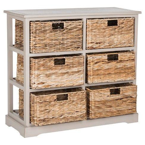 Keenan 6 Wicker Basket Storage Chest Safavieh Storage Baskets
