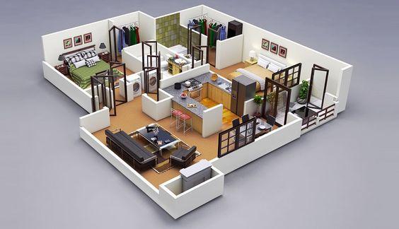 ห้ามพลาด… รวม 50 แบบแปลน 3 มิติ สำหรับบ้าน/คอนโด ขนาด 2 ห้องนอน | NaiBann.com