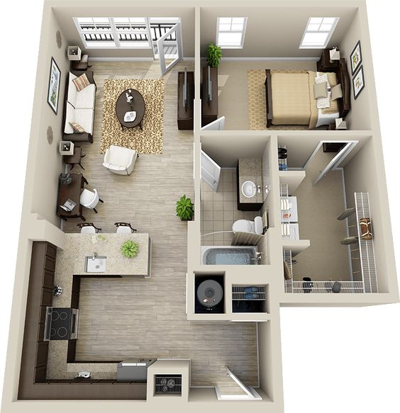 3d Floor Plan Apartment Google Search Planos