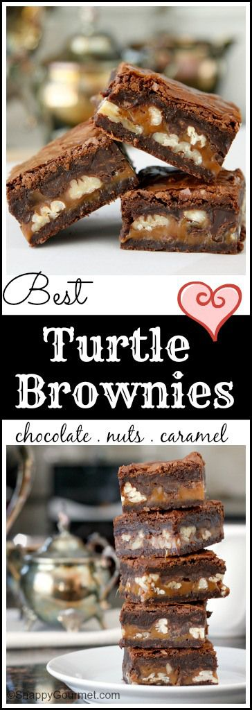 Best Turtle Brownies recipe - easy fudgy brownie with lots of chocolate, nuts, and caramel! SnappyGourmet.com