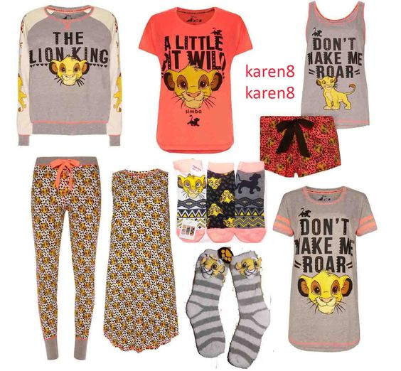Lion King Simba Nala pajamas pj's socks and joggers and tanks clothing women's fashion you can buy at my ebay store karen8karen8