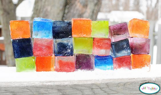 Colored Ice Blocks. What a fun idea!