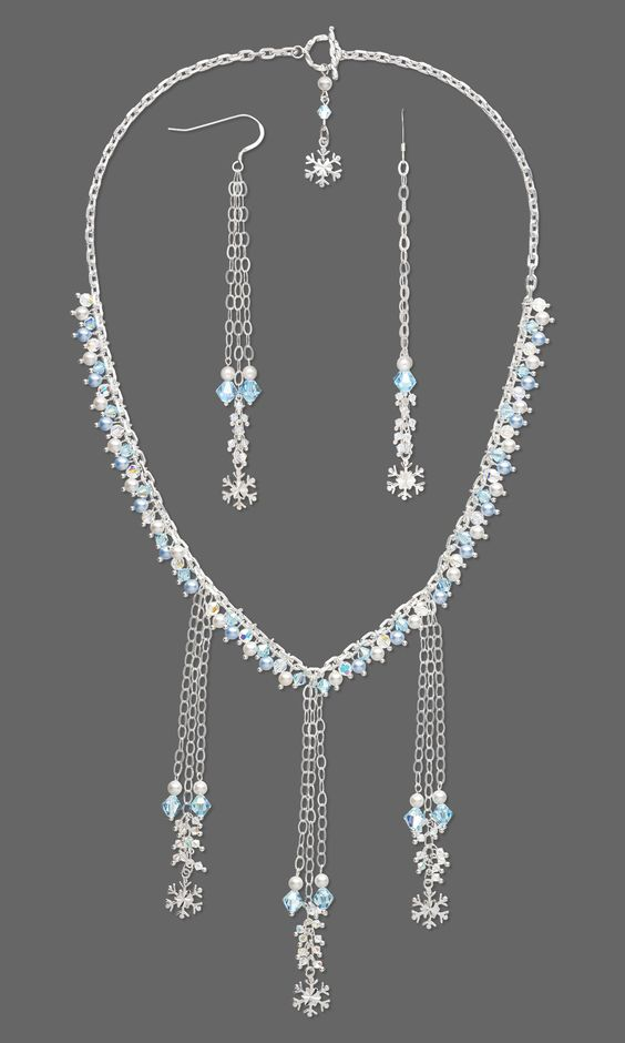 Jewelry Design - Single-Strand Necklace and Earring Set with Swarovski Crystal and Sterling Silver Charms and Chain - Fire Mountain Gems and Beads
