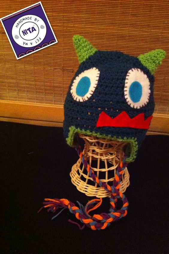 New monster hat!! Para los pequeños monstruitos de la casa....