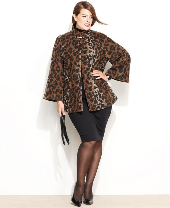 Betsey Johnson Plus Size Coat, Bell-Sleeve Mod Trapeze