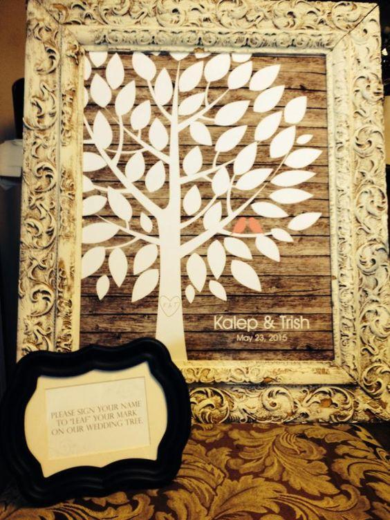 Rustic Wooden Wedding Tree | Guest Book Alternative | Rustic Wedding | Customer Photo | Wedding Color - Coral | peachwik.com