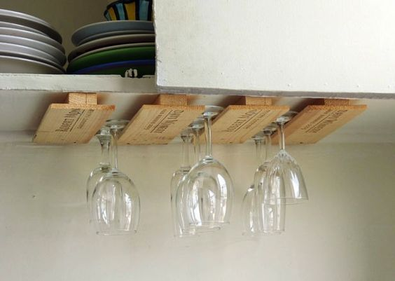 stemware holder made from vintage wine crates