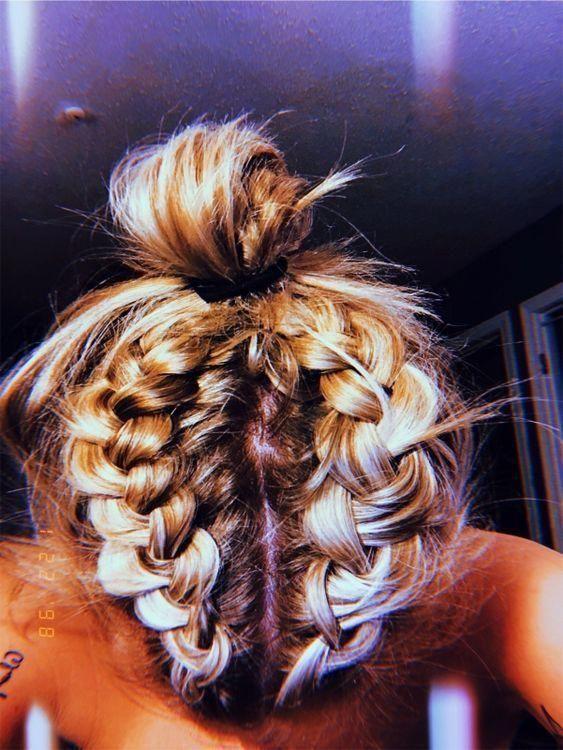 P I N T E R E S T A N N A Annaxlovee Woven Annaxlovee Hairstyle Hairstyles Woven Braidedha Long Hair Styles Hair Straightening Iron Hair Styles