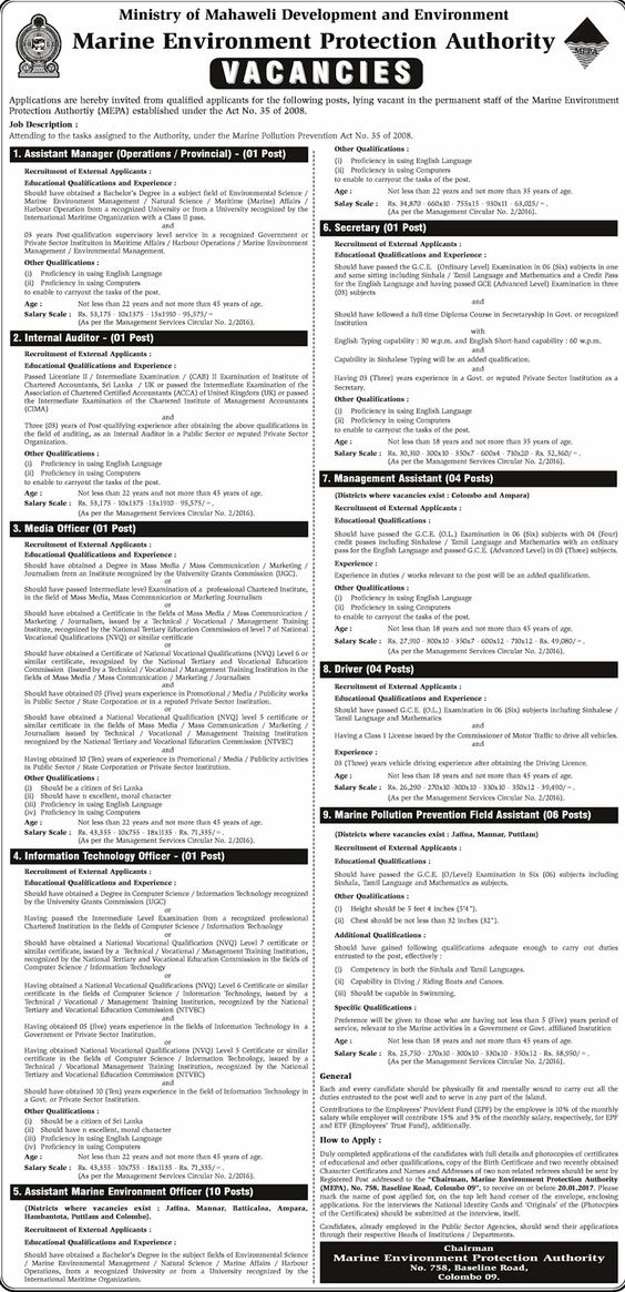 Vacancies at Sri Lanka Export Development Board Career First - assistant manager job description