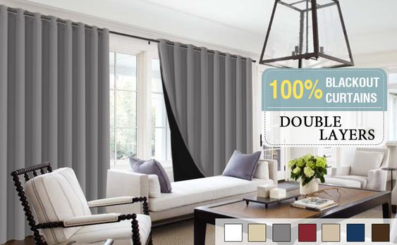 Amazon.com: Flamingo P Full Blackout Grey Curtain Panels Set of 2, 100% Blakcout Curtains for Bedroom Lined Curtains 63 Inches Long Double Layer Curtains, Thermal Insulated Grommet Window Treatment Panels, Gray: Home & Kitchen