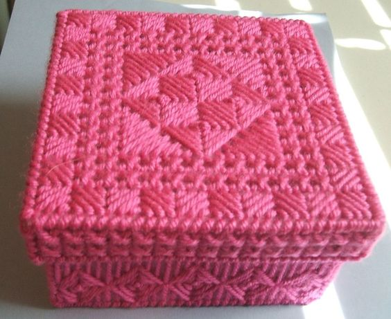 Trinket Box Plastic Canvas Crafted Rose Color