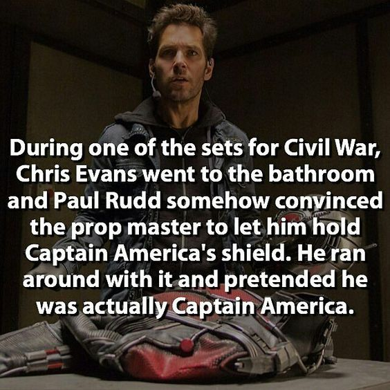 Paul Rudd is great! He said he felt like a kid on set. #CaptainAmericaCivilWar is tomorrow!!!! Are you ready?  Credit: @dcfact