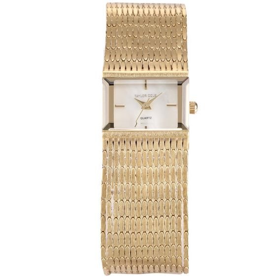 Brand New Taylor Cole Women Golden Square Quartz Movement Brass Wristwatch / TC034