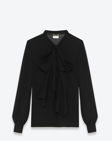 YSL Classic Bow Tie Button Front Blouse (SALE $879)