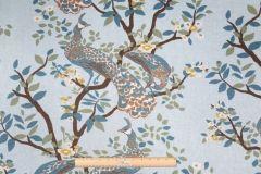 6.5 Yards Robert Allen Vintage Plumes Printed Linen & Cotton Drapery Fabric in Jade