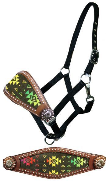 Dark Horse Tack is proud to offer... Showman® Navajo diamond bronc halter. This halter features a wide bronc style noseband with multi colored Navajo diamond print. Noseband is accented with silver st