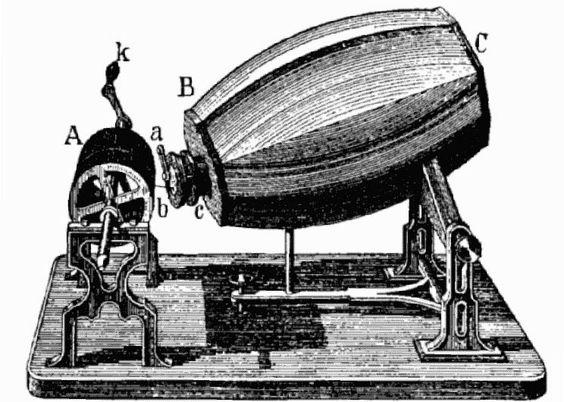Phonoautograf: Schwingungen wurden mittels Schweineborste übertragen. Mehr zur Geschichte der Schallplatte: http://www.nachrichten.at/nachrichten/150jahre/tagespost/Wie-es-zur-Schallplatte-kam;art171761,1701355 (Bild: Wikipedia)