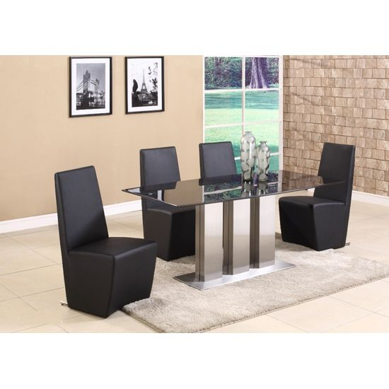 Lorenzo Contemporary Black Marble Dining Table 4 Chairs