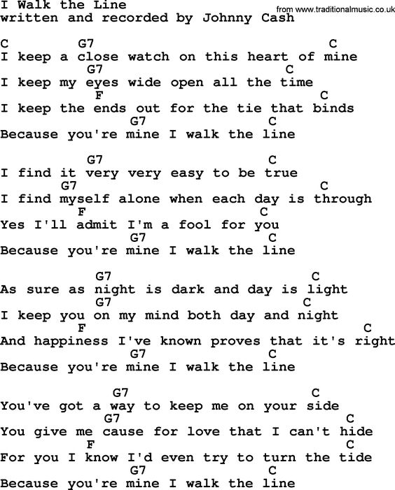 Johnny Cash song I Walk The Line, lyrics and chords