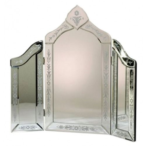 Venetian Glass Dressing Table Etched Triple Mirror