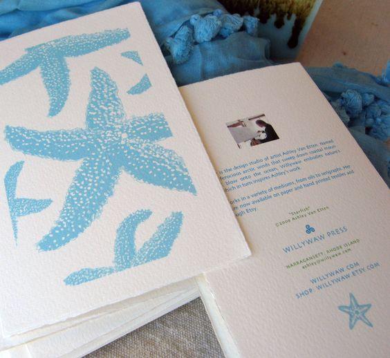 Starfish Note Cards. $16.00, via Etsy. (5 cards & envelopes)