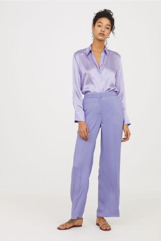 Wide-leg Pants - Light purple - Ladies | H&M US 1