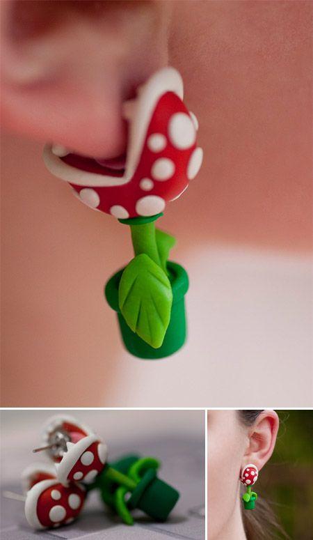 Pendientes con forma de planta carnívora, al estilo Mario Bros.: Style, Inner Geek, Horror