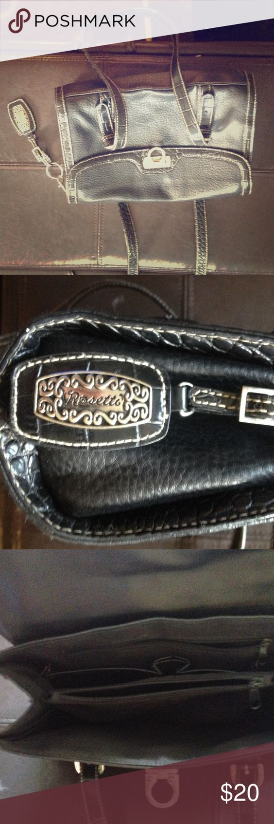 HOLIDAY SALERosetti Purse Very nice Rosetti Brand purse. Faux black leather with silver accents. New without tags. Spotless interior Rosetti Bags Shoulder Bags
