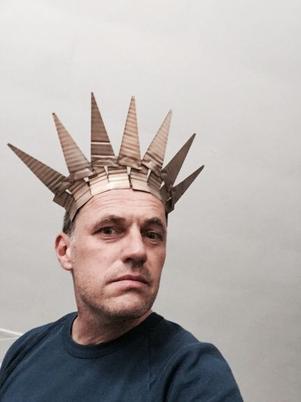David Bielander, 2015 - Big Apple Neckpiece, 2015, necklace, silver, white gold, unique, 11 x 13.25 x 4.25 inches   photo: Dirk Eisel.             Cardboard becomes gold, gold becomes cardboard. Cardboard tiaras and crowns become precious jewelry.""