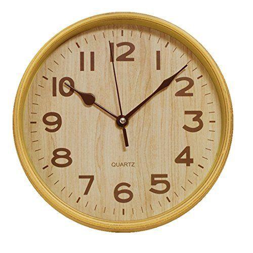 Taotoa 8 Inch Wood Grain Silent Non Ticking Plastic Wall Clock For Kitchen Home Decorative Kitchen Wall Clocks Clock Wood Grain