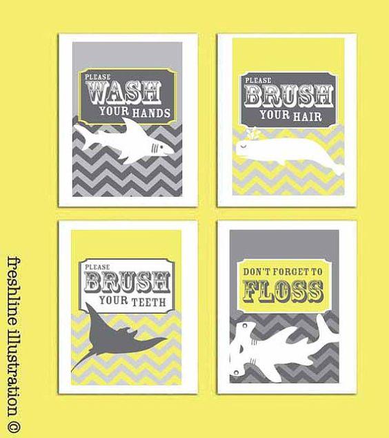 Children Bathroom Art - Shark, Stingray, Whale - Wash Your Hands