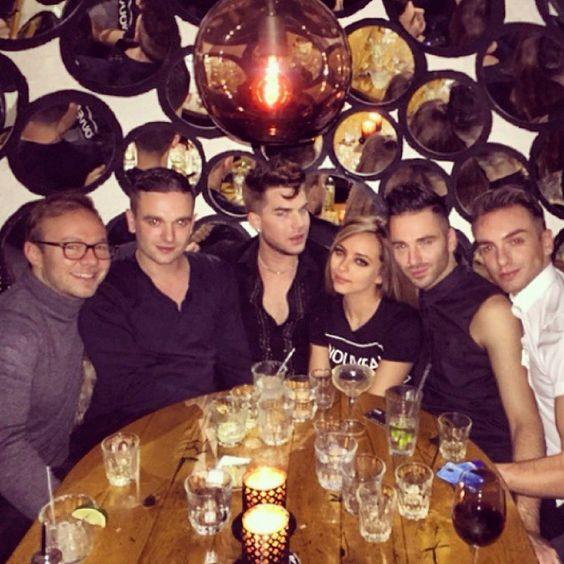 12/4/14 Adam Lambert at La Bodega Negra Restaurant, London Jade of Little Mix