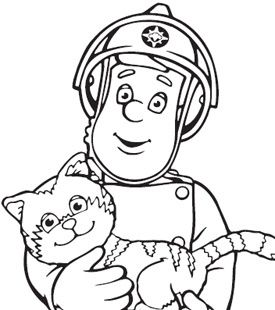 Fireman sam and cat colouring in fireman sam activities for Coloring pages fireman sam