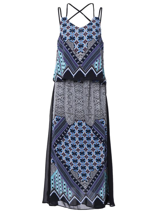 Bohemian Style Blue Spaghetti Strap Tribal Print Tank Top + Chiffon Maxi Skirt Women's Twinset #Blue #Spaghetti #Strap #Maxi_Dress #Fashion