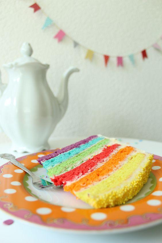 Regenboogtaart feest / rainbow cake | zjojes
