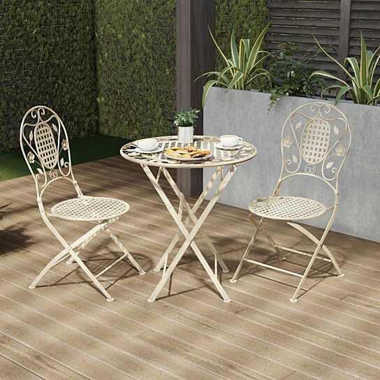 Folding Bistro Set 3 Pc Table And Chairs With Lattice Leaf Design Outdoor Furniture For Garden Patio Outdoor Bistro Set Bistro Set Lavish Home