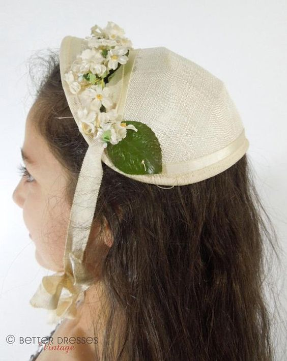 Vintage 40s Or 50s Childs Bonnet Hat Treasury By Beedeevintage Bonnet Hat Bonnets Vintage
