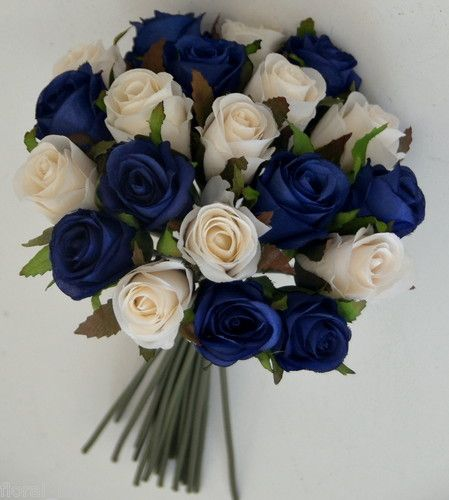 Details about silk wedding flower girl bouquet blue ivory for Bouquet roses blanches