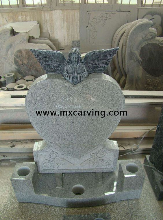 Granite Tombstone Angel Baby With Heart Headstone Uk