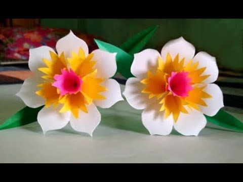 How To Make Beautiful Paper Flower Stick Step By Step Youtube Paper Flowers Paper Flower Arrangements Paper Flowers Diy