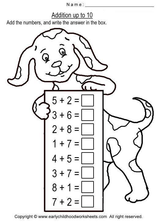 Addition Up To 10 Worksheets For Kindergarten Kids Math Worksheets Math Addition Worksheets Rocket Math Rocket math worksheet program