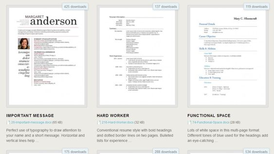 Download 275 Free Resume Templates for Microsoft Word Cosas - different resume styles
