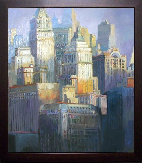 Francis Livingston (american1953-) , Golden Lit City, Oil On Panel, 45x40. Arcadia Fine Arts.