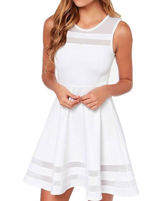 Face N Face Women's Mesh Slim Sleeveless Short Mini Flare Dress at Amazon Women's Clothing store: