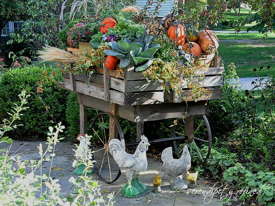 Pallet wood fall harvest cart with pumpkins, mums and bittersweet by Serendipity Refined