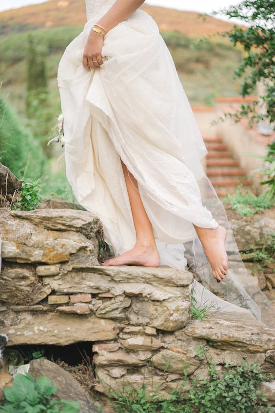 Ethereal Barefoot Bride in an Italian Castle | Alexis Rose Photography | http://heyweddinglady.com/fine-art-italy-tuscan-destination-wedding-olive-grove/:
