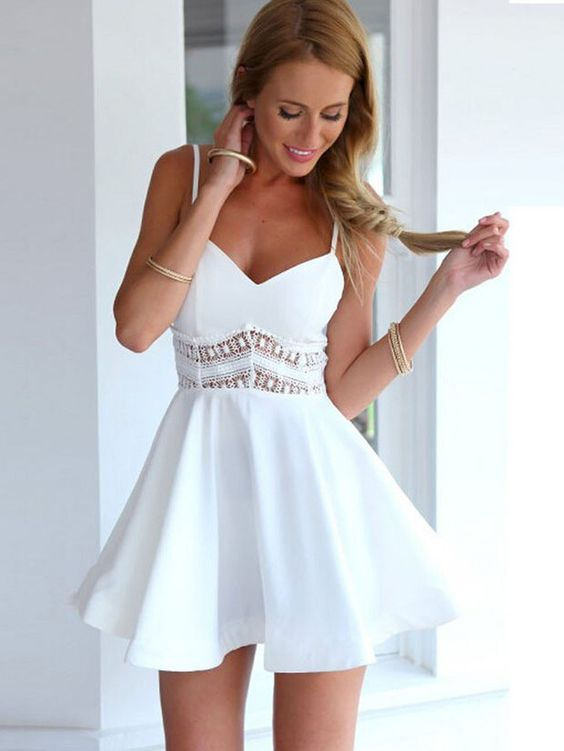 Spaghetti Strap V-neck Lace Embroidered Mini Skater Dress