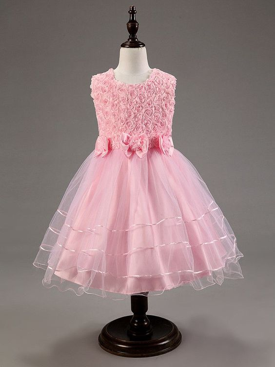 Floral, Flower and Lace Formal Dress - Pink