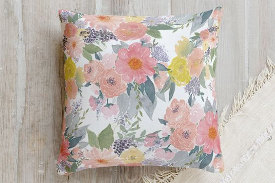 Bold Watercolor Floral Pillow by Qing Ji | Minted
